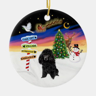 Xmas Signs - Black Toy Poodle Ceramic Ornament