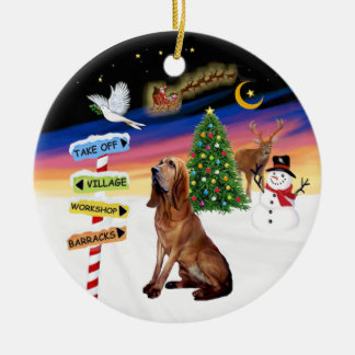 XMas Signs - Bloodhound Round Ceramic Ornament