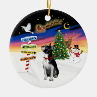 Xmas Signs - Boston Terrier #3 Ceramic Ornament