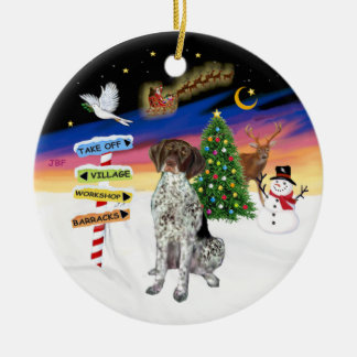 Xmas Signs - German Short Haired Pointer Ceramic Ornament