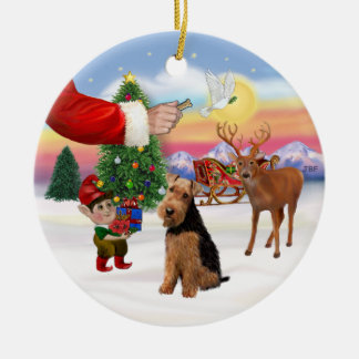 Xmas Signs - Welsh Terrier Ceramic Ornament