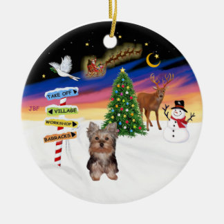 Xmas Signs - Yorkshire Terrier puppy Ceramic Ornament