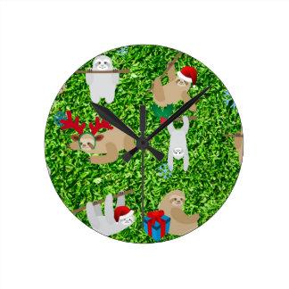 xmas sloth round clock