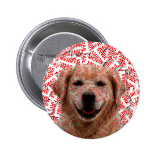 Xmas Smiling Golden Retriever Dog 2 Inch Round Button
