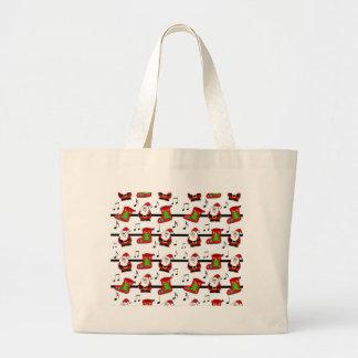 Xmas song pattern large tote bag