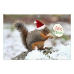 Xmas Squirrel in Snow Photographic Print