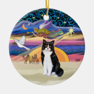 Xmas Star - Black and white Tuxedo cat Ceramic Ornament