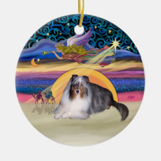 Xmas Star - Blue Merle Sheltie Ceramic Ornament