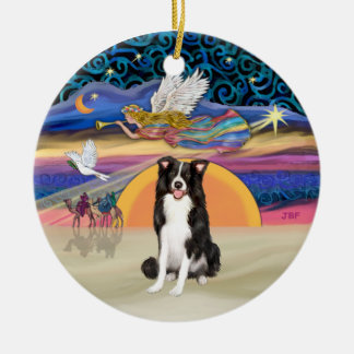 Xmas Star - Border Collie Ceramic Ornament