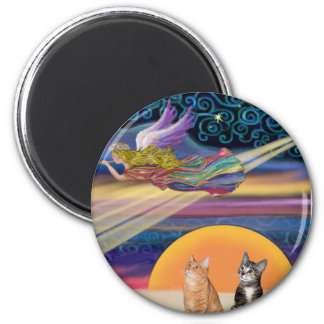 Xmas Star - Brown and Orange Tabby cats (two) 2 Inch Round Magnet