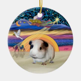 Xmas Star - Guinea Pig #1 Round Ceramic Ornament