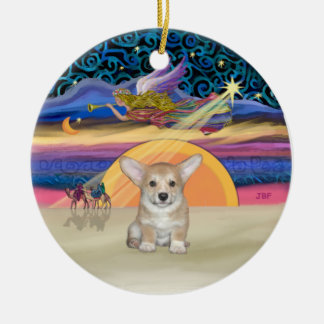 Xmas Star - Pembroke Welsh Corgi Puppy Round Ceramic Ornament