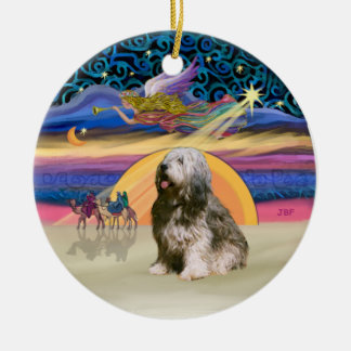 Xmas Star - Polish Lowland Sheepdog 10 Ceramic Ornament