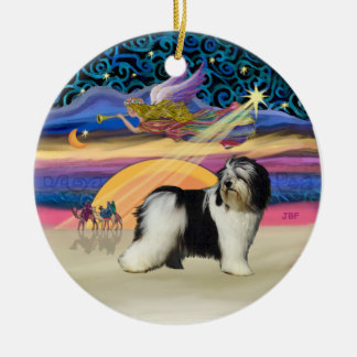 Xmas Star - Polish Lowland Sheepdog (BW) Ceramic Ornament