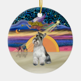 Xmas Star - Schnauzer 11b Round Ceramic Ornament
