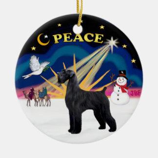 Xmas Sunrise - Giant Black Schnauzer Round Ceramic Ornament