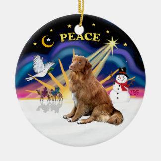 Xmas Sunrise - Nova Scotia dog Ceramic Ornament
