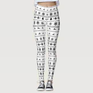 Xmas Sweater pattern, black on white Leggings