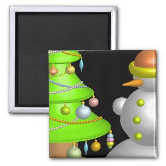 Xmas tree & snowman magnet