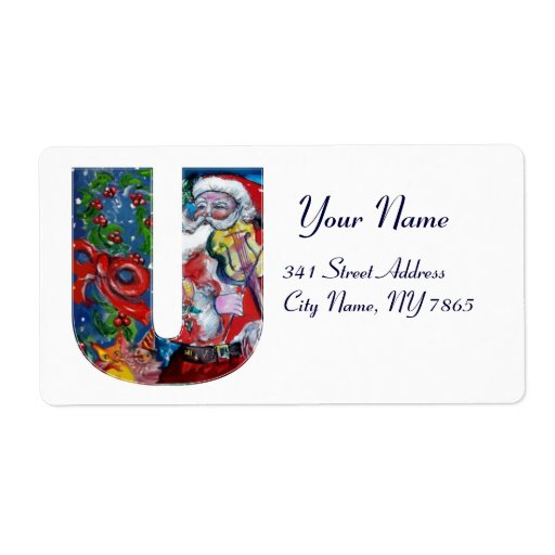 XMAS U LETTER /SANTA  CLAUS WITH VIOLIN MONOGRAM PERSONALIZED SHIPPING LABELS