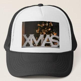 Xmas white letters trucker hat
