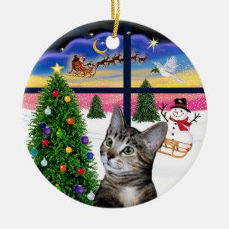 Xmas Window - Brown Tabby Tiger cat Ceramic Ornament