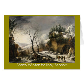 Xmas winter lanscape w/birds New Year greeting Card