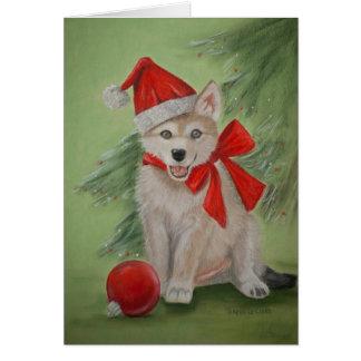 Xmas Wolf Pup Greeting Card