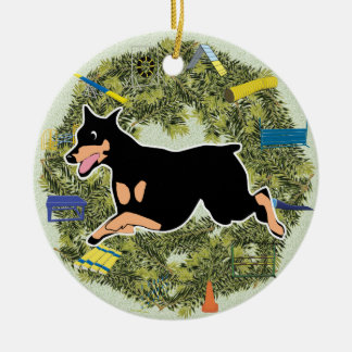 Xmas Wreath Agility Doberman Ceramic Ornament