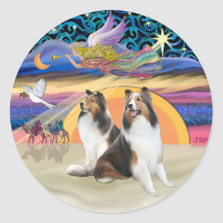 XmasStar (R)-Two Shelties Classic Round Sticker