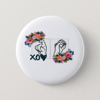 XO (ASL Hugs & Kisses Hand) 2 Inch Round Button