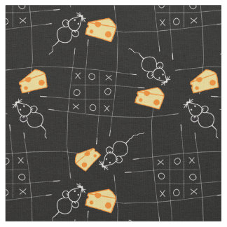XO Cartoon Mouse With Cheese in Maze Pattern Fabric