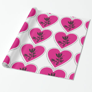 XO Fuchsia Heart and Tulip Wrapping Paper