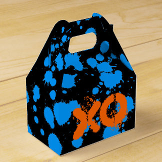 XO Graffiti Art Black and Blue 90s Splatter Paint Favor Box