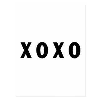 XO Hugs and Kisses Black Postcard