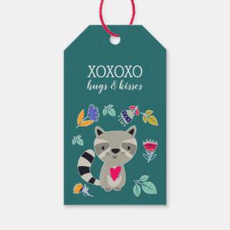XO. Hugs & Kisses. Funny Raccoon Gift Tags