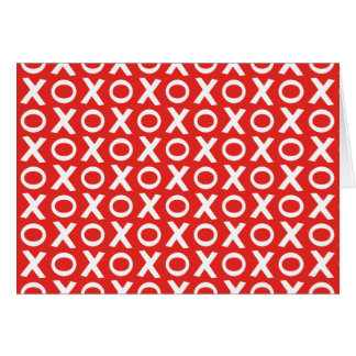 XO Kisses and Hugs Pattern Illustration red white Card