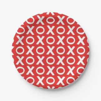 XO Kisses and Hugs Pattern Illustration red white Paper Plate