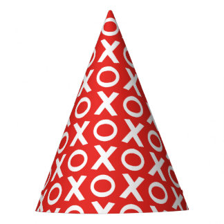 XO Kisses and Hugs Pattern Illustration red white Party Hat