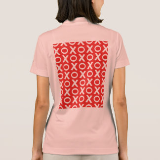 XO Kisses and Hugs Pattern Illustration red white Polo Shirt