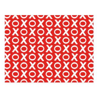 XO Kisses and Hugs Pattern Illustration red white Postcard