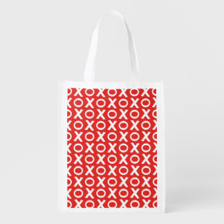 XO Kisses and Hugs Pattern Illustration red white Reusable Grocery Bag