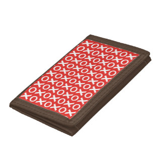 XO Kisses and Hugs Pattern Illustration red white Tri-fold Wallets