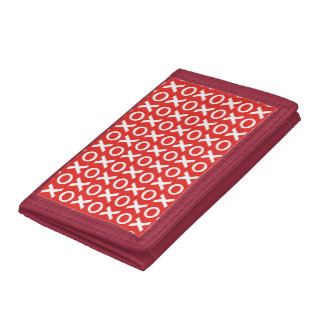 XO Kisses and Hugs Pattern Illustration red white Trifold Wallet