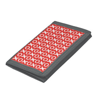 XO Kisses and Hugs Pattern Illustration red white Trifold Wallets