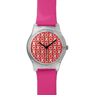 XO Kisses and Hugs Pattern Illustration red white Watch