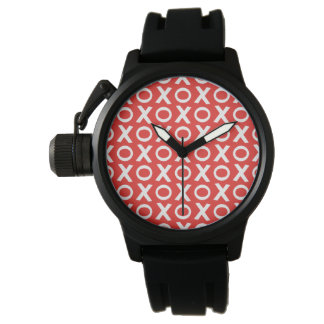 XO Kisses and Hugs Pattern Illustration red white Watches