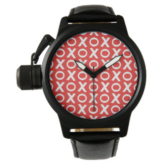 XO Kisses and Hugs Pattern Illustration red white Wrist Watch