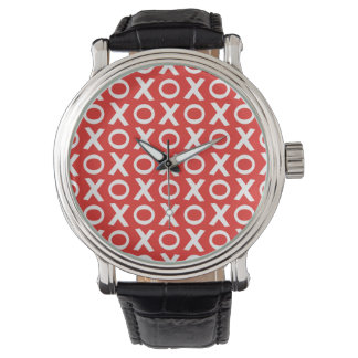 XO Kisses and Hugs Pattern Illustration red white Wrist Watches