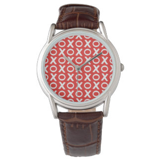 XO Kisses and Hugs Pattern Illustration red white Wristwatches